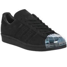 Adidas Superstar 80's Metal Toe Trainers ($125) ❤ liked on Polyvore featuring shoes, sneakers, black petrol, hers trainers, trainers, leather upper shoes, 1980s sneakers, 80s shoes, striped shoes and black sneakers