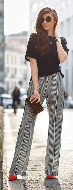 Black And White Pinstripe Trousers