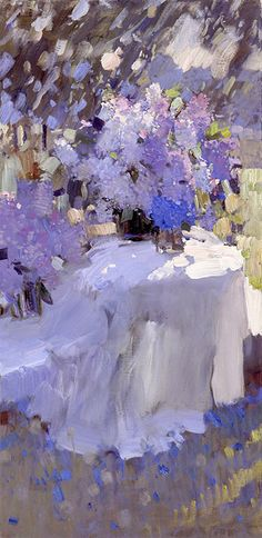 The end of May, Bato Dugarzhapov- painting with the bouquet of lilacs, impressionism, flowers