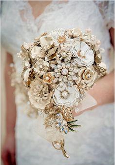 Wedding bouquet Custom made to order - Bridal brooch bouquet GOLDEN SHADOWS - wedding keepsake