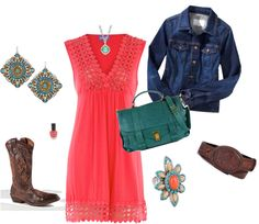 """Dress inspiration for Mark n Sarah's wedding """"Cowgirl Chic"""" by kevoltz on Polyvore"""