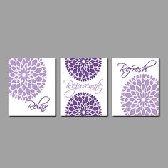 Floral Flower Flourish WALL ART Relax Rejuvenate Refresh Purple Grey Gray Wall  Art Bathroom Decor Bathroom