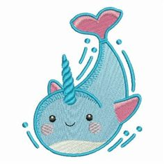 Cute Narwhal embroidery design