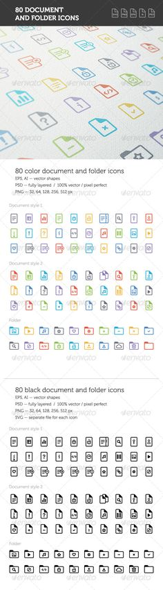 Document and Folder Icon Set — Photoshop PSD #clean #web • Available here → https://graphicriver.net/item/document-and-folder-icon-set/8294722?ref=pxcr