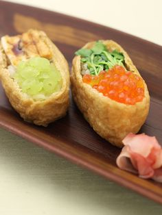 Inarizushi (Tofu Pocket Sushi) with Ikura Salmon Caviar and Anago Conger Eel|いくらと穴子の変わり稲荷寿司