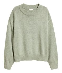 Check this out! CONSCIOUS. Wide-cut sweater in a soft, fine knit with wool content. Dropped shoulders and wide ribbing at neckline, cuffs, and hem. Polyester content is recycled. - Visit hm.com to see more.