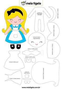 Marrispe Artesanato: Alice no País das Maravilhas Felt Doll Patterns, Felt Crafts Patterns, Felt Crafts Diy, Felt Diy, Stuffed Toys Patterns, Felt Fabric, Fabric Dolls, Paper Dolls, Rag Dolls