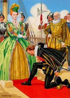 Elizabeth I Knights Sir Francis Drake art by F Stocks May