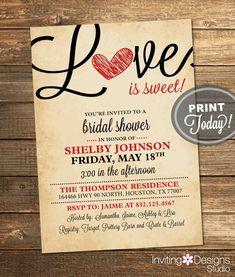 Rustic Valentine Bridal Shower Invitation, Love, Love is Sweet, Heart, Red, Black, Instant, Printable File (Custom Order, INSTANT DOWNLOAD)
