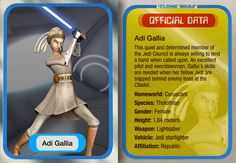 Adi Gallia was a female Tholothian Jedi Master during the twilight years of the Galactic Republic. Gallia was a respected member of the Jedi High Council, who served on that august body in the years leading up to the Clone Wars, as well as some time into that devastating conflict. As a revered Jedi Master of the High Council, Gallia was naturally an exceptionally skilled member of the Order, Gallia participated in the opening battle of the Clone Wars, where her actions saved countless lives. Des Galactic Republic, Star Wars Clone Wars, Obi Wan, Star Wars Episodes, Great Movies, Feature Film, Movie Tv, Battle, Lightsaber