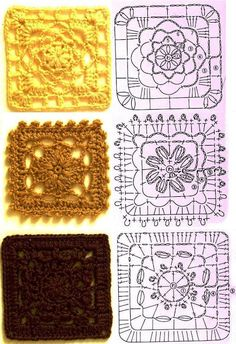 HUGE assortment of lace and granny square crochet patterns. I can& read a word of it, but crochet charts are something of a universal language =) Point Granny Au Crochet, Granny Square Crochet Pattern, Crochet Blocks, Crochet Diagram, Crochet Chart, Crochet Squares, Free Crochet, Motifs Granny Square, Granny Squares