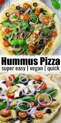 If you like hummus, you will LOVE this hummus pizza with artichokes, spinach, and olives. It's one of our favorite vegan pizza recipes around here! Find more vegan recipes at veganheaven.org! #vegan #veganrecipes