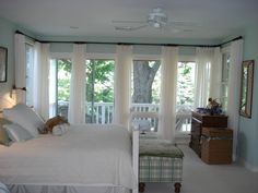 Simple White Drapes with black curtain rod