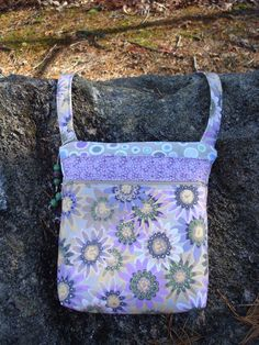 Gray and Purple Floral Purse Cross Body Bag by Jackiesewingstudio