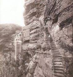 What a fabulous old photo of Wentworth Falls and the stairway. Local History, Family History, September Holidays, Blue Mountains Australia, Aboriginal History, Historical Images, South Wales, Stairway, Camps