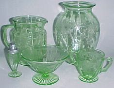 Dancing Girl Green Depression Glass