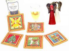 Set of 4 festive fabric Christmas coasters  Drink mats by SABDECO