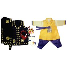 Yellow patch and Purple-Blue - Boy Dol Hanbok Set - 7 Pieces