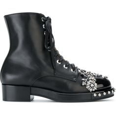 N??21 Embellished Ankle Boots ($1,275) ❤ liked on Polyvore featuring shoes, boots, ankle booties, black booties, black ankle boots, black ankle booties, black studded booties and lace-up bootie