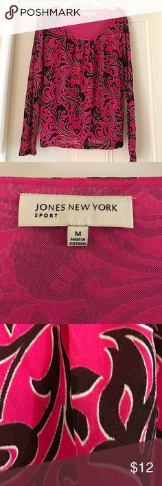 Jones of New York Top Long sleeve lined pink and blackish top Jones New York Tops Blouses