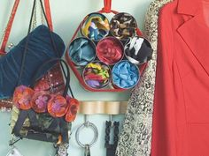 How to Organize Scarves - old tins and piece of rope