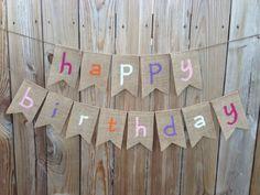 Happy Birthday burlap banner - girl. happy birthday sign. girl birthday party, party supplies, diy