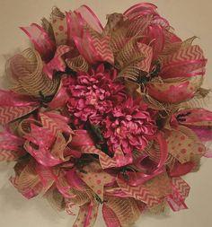 Spring Deco Mesh wreath, Natural Door Wreath, #housewares #homedecor @EtsyMktgTool http://etsy.me/2agk5yW