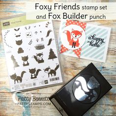 Foxy friends stamp set and Fox Builder punch from Stampin' Up!. A happy hello card by Patty Bennett at www.PattyStamps.com
