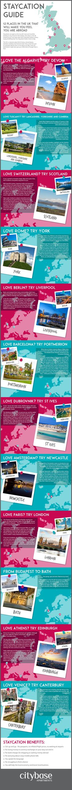 Staycation Guide: 12 Places in the UK that will Make You Feel You are Abroad #Infographic #Travel