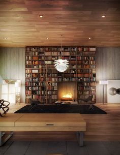 very cool library, but I'd be afraid of the fire with all these books around...