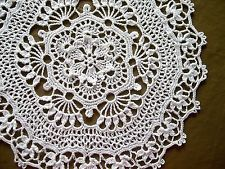 Hand Crocheted Thread Doily Tablecloth Centerpiece White Lace Topper 12 in. Mat