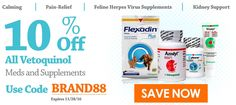 Take 10% Off All Vetoquinol Medications and Supplements. Use Offer Code: BRAND88 Expires: 11/28/16 http://www.allivet.com/c_pets_med_coupons.aspx