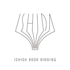 石田製本株式会社のロゴマーク。 見ての通り、本を開いた断面が「ISHIDA」の文字を形どっています。 �