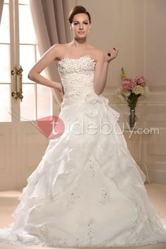 魅力的なラインストラップレスチャペルトレーンアップリケウェディングドレス