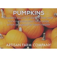 Backyard Benefits Series XVI: #Pumpkin has great #fat and helps #heart #health. Let Artisan Farm Company help you. Sign up for our email list, or give us a buzz. www.artisanfarmcompany.com :ghost: ArtisanFarmCo -------------------------------------- :thum