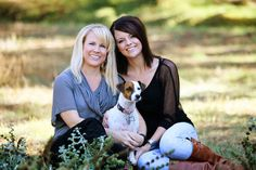 Mother, daughter and puppy portrait session.