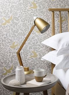Shop for Wallpaper at Style Library: Larksong by Sanderson. A monochromatic forest print provides the natural backdrop against which larks swoop and pe. Bird Wallpaper, Wallpaper Decor, Wallpaper Online, Tapete Gold, Desk Lamp, Table Lamp, Alondra, Classic Wallpaper, Beautiful Wallpaper