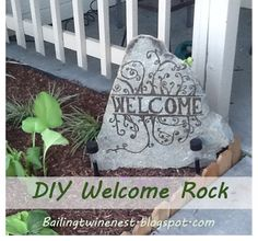 DIY Welcome Rock.  How to make your own for cheap!