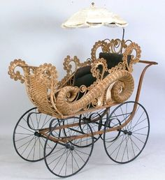 Fancy Vintage Victorian Wicker Buggy and Parasol Victorian Furniture, Victorian Decor, Wicker Furniture, Baby Furniture, Victorian Homes, Victorian Era, Antique Furniture, Victorian Cribs, Geek Furniture