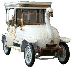 Replica of the 1910 Brooke Swan Car. Popular with the elite in Calcutta, features included glow in the dark amber eyes, a beak that could emit a spray of hot water and a valve which enabled the swan to poo whitewash from its rear end.