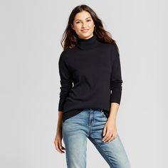 Women's Turtleneck Sweater - A New Day Black Xxl