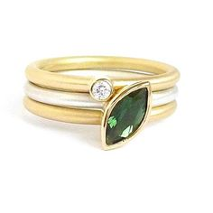 Bespoke silver and gold stacking ring. Green tourmaline and diamond make a stunning unique ringset by designer and maker Sue Lane. Statement dress ring!