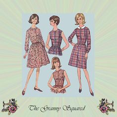 1960s Dress Pattern with Gathered or A-Line by TheGrannySquared
