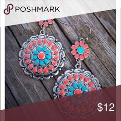 Turquoise & Corral Dangle earrings Brand new corral & turquoise earrings. Tribal, Aztec, boho, gypsy, hippie, western, cowgirl style. Jewelry Earrings