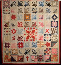 """Signature Quilt, Arizona Quilt Documentation Project; 80"""" x 86""""; inscribed date; 1897, locations: Newton Lower Falls, Mass; Belfast, Maine; Mother 1897 and more; inked, purchased Washington state, 2011"""