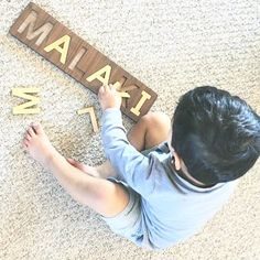 Handmade educational wooden name puzzles made in the USA by Smiling Tree Toys. A perfect toddler birthday or a Christmas gift, heirloom quality and personalized!