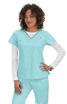 Women's Ashley Crossover V-Neck Solid Scrub Top - Ice Blue Clearance Scrubs, Healthcare Uniforms, Koi Scrubs, Perfect Marriage, Scrub Tops, Sport Fashion, Tunic Tops, Sporty, V Neck