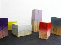 dip dyed wood blocks