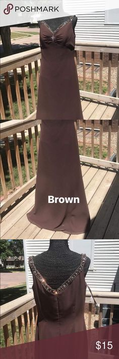 Rich brown evening gown size 12 Rich brown evening down lightweight beaded on straps Dresses Maxi