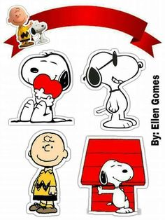 Peanuts, Charly Brown and Snoopy: Free Printable Cake Toppers. Snoopy Love, Charlie Brown Snoopy, Snoopy And Woodstock, Diy Christmas Tags, Snoopy Christmas, Charlie Brown Christmas, Christmas Carol, Snoopy Birthday, Snoopy Party